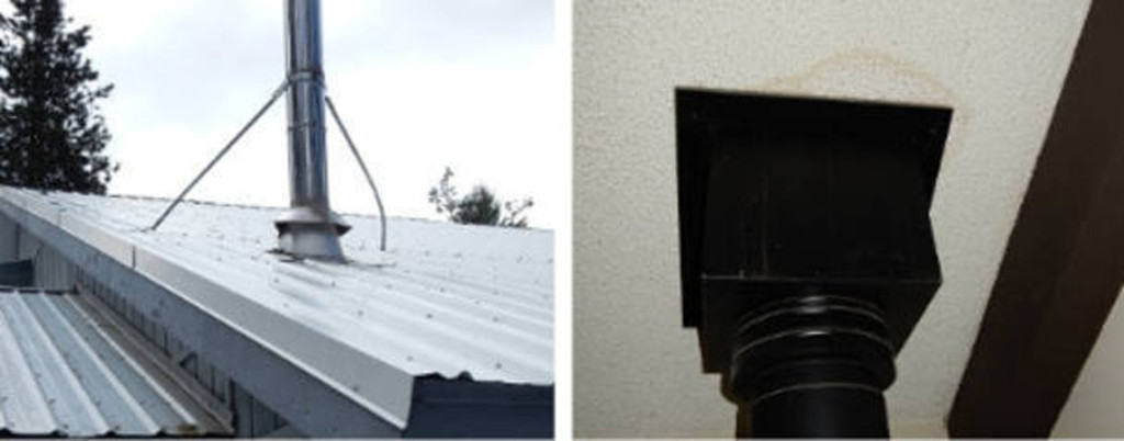 Bowed chimney brace and water stain on ceiling