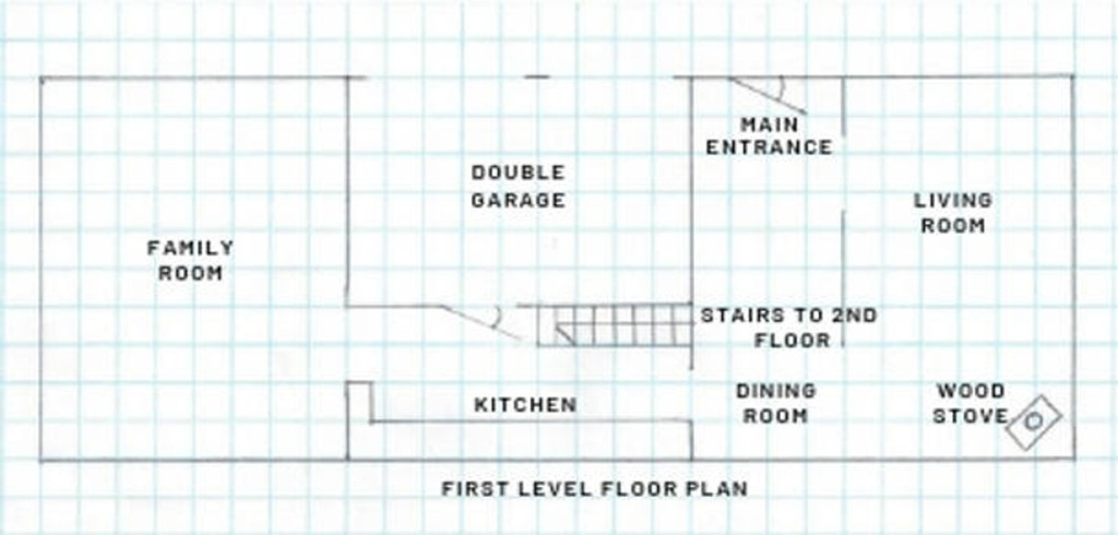 diagram of floor plan for wood stove