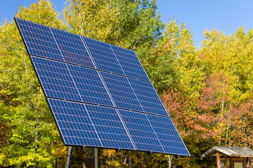 solar panel set up in the country
