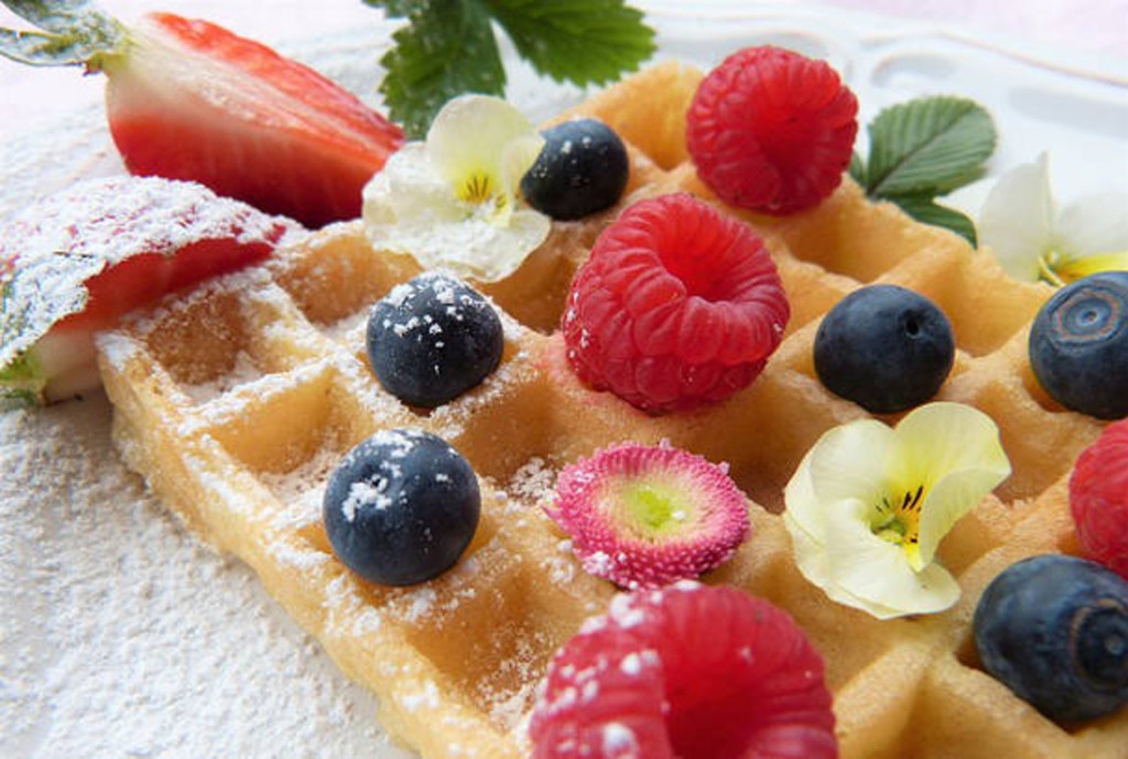 waffle with flowers
