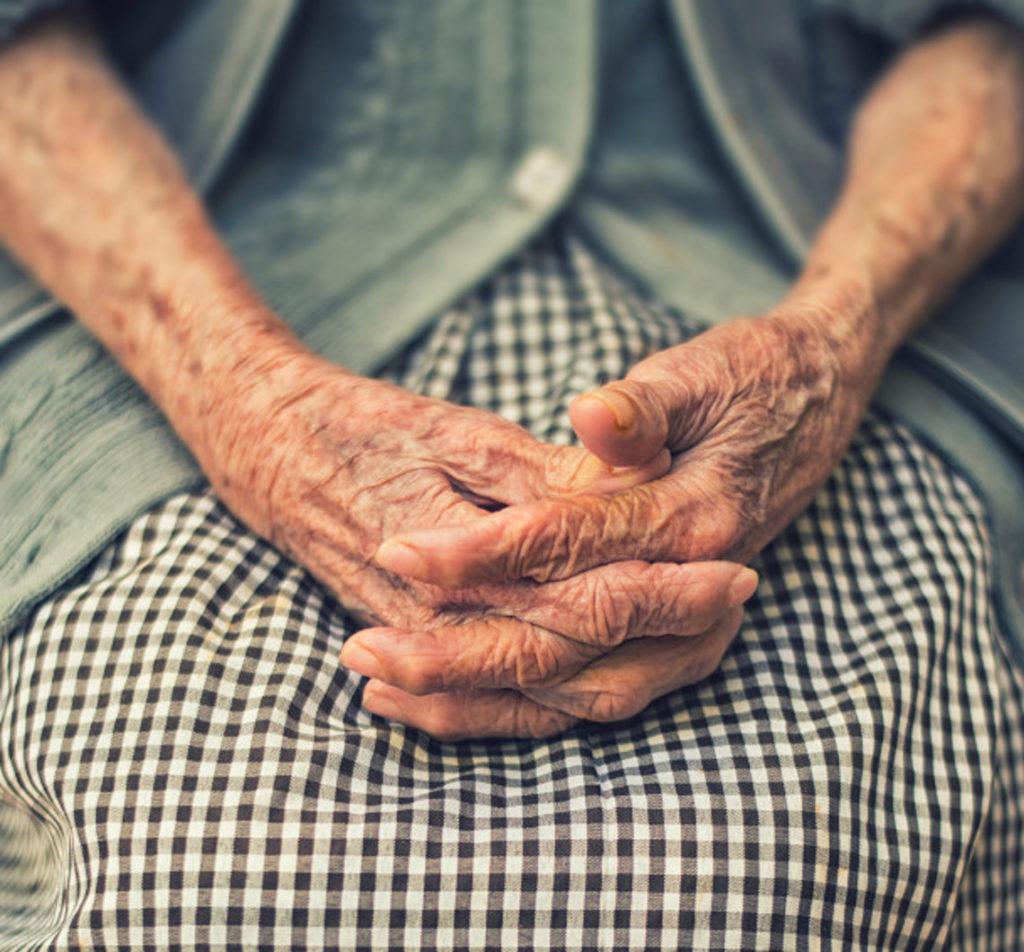 elderly ladies wrinkled hands